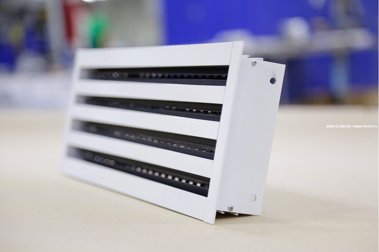 AIRO-LD линейный вентиляционный диффузор с клапаном и лопатками направления потока